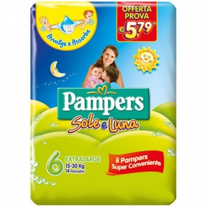 PAMPERS SOLE/LUNA EX.LARGE X14